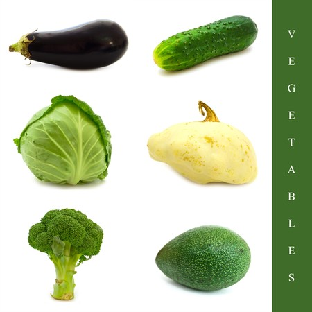 cymbling: Set of six different vegetables: cucumber, broccoli, cabbage and cymbling