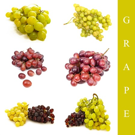 set of red and green grape over white background photo