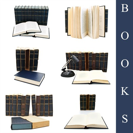 bibliomania: set of different books over the white background