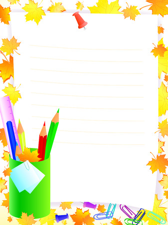 autumn colouring: school supplies with frame for tour text against yellow and orrange maple leaves  Illustration