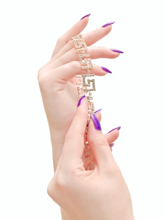 jewel hands: crystal jewelry in woman hands over white background Stock Photo