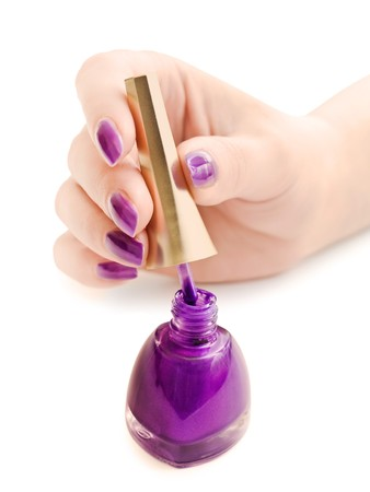manicure: nail polish and woman hand over white background Stock Photo - 6973393