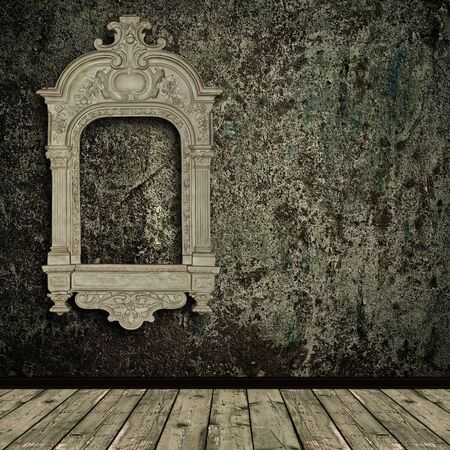 Photo of abstract grunge shabby interior with old vintage frame Stock Photo - 7049903