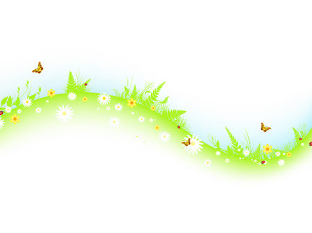 ladyfly: summer abstract wavy meadow with flowers and butterflies