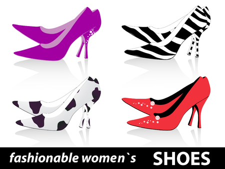Set of four pairs fashionable women`s shoes Stock Vector - 7049915