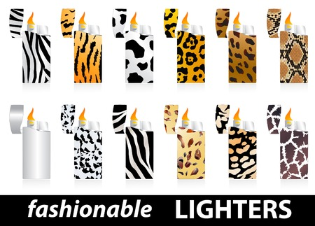 skin burns: Set of fashionable lighters with wild skin patterns