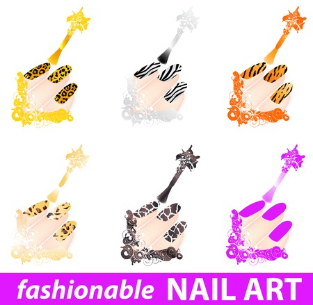 varnish: set of fashionable nail art patterns in wild style