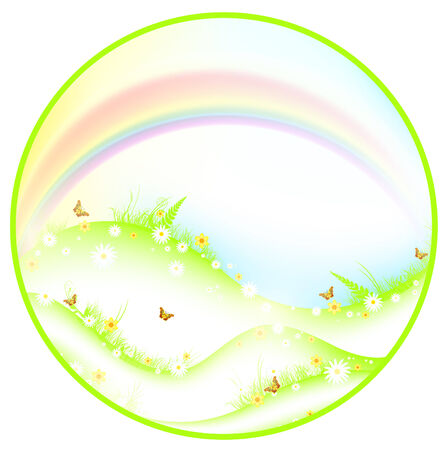 Summer or spring theme with meadow, rainbow and butterflies in round shape, EPS10 Vector