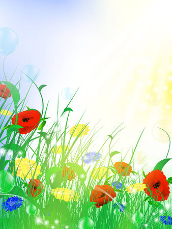 fantasy bright flower meadow with sun, bubbles and copyspace,  Vector