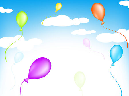 Bright multicolored balloons flying in the sky Vector