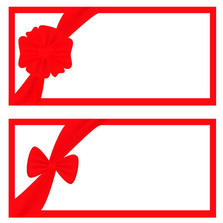 two gift frames with decorative bow and copyspace for your text Vector