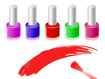 row of multicolored nail polish bottles and brush Stock Vector - 7136115
