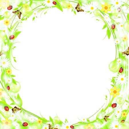 bubbly: Green sprout bubbly summer or spring frame with flowers and butterflies, EPS10