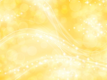 bright shining golden background with bokeh elements and stars Stock Vector - 7136126