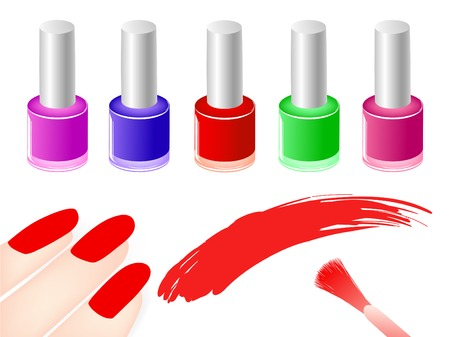 cosmetic lacquer: multicolored nail polish bottles near red nails and  brush