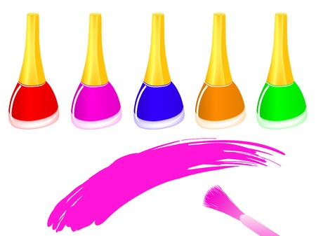 row of multicolored nail polish bottles and brush Stock Vector - 7163861