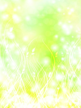 summer bright abstract floral background in light green and yellow   Vector
