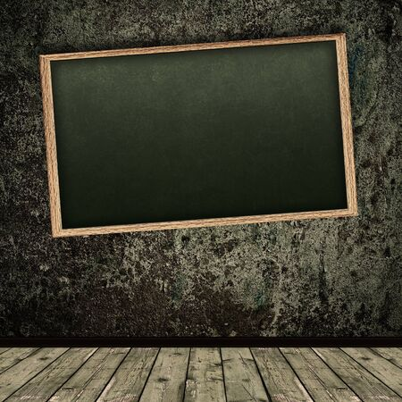 school aged: Photo of abstract grunge shabby interior with school blackboard