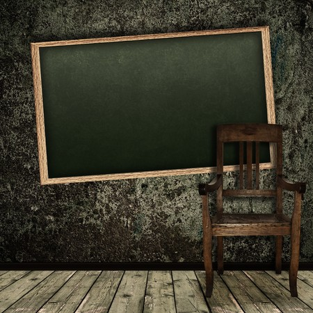 antique chair: Photo of abstract grunge shabby interior with school blackboard and single chair Stock Photo