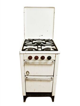 bakeoven: old vintage gas stove over white background