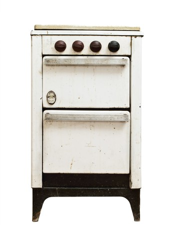 baking oven: old vintage gas stove over white background