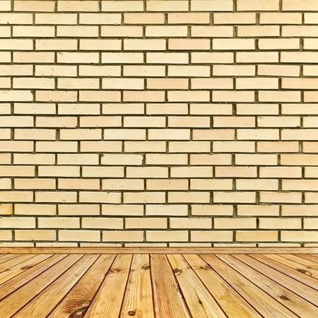 beige brick wall and wooden floor photo