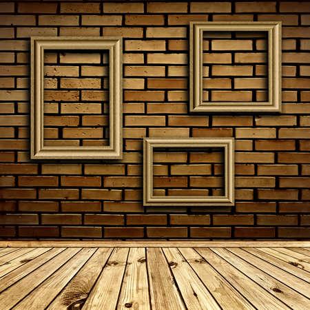 three frames at beige brick wall under wooden floor photo