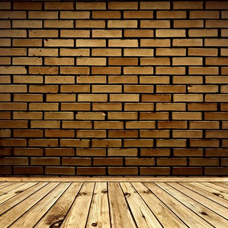 interior with brick wall and wooden floor Archivio Fotografico