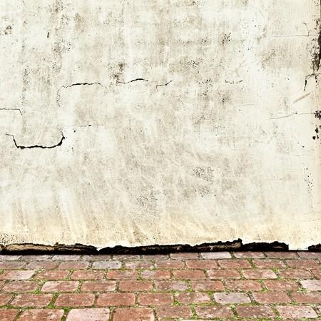 brick floor: Foto del exterior vintage con pared de ladrillo piso y grunge