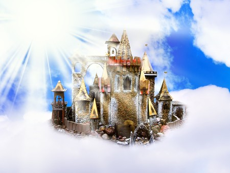 kingdom of heaven: magic castle in the clouds over sun and blue sky
