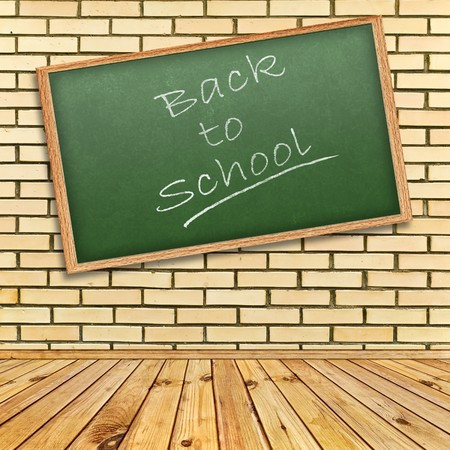 school class: Back to school! theme in interior with brick wall and wooden floor Stock Photo