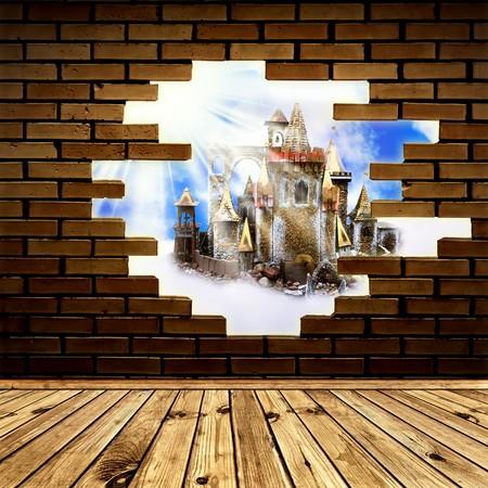 kingdom of heaven: magic castle in the hole of brick wall