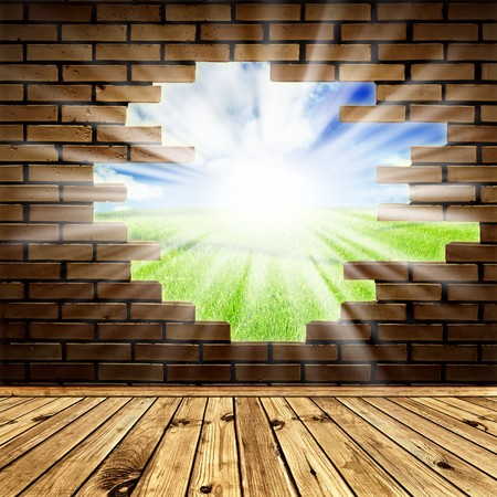 light green wall: summer scenery through the hole in the brick wall of room with wooden floor