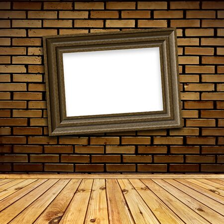 art frame with copyspace at brick wall in interior with wooden floor Stock Photo - 7303342