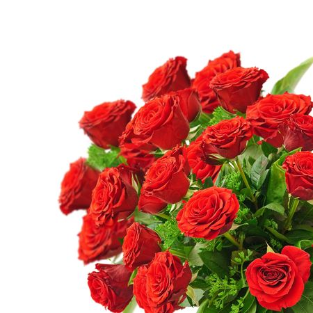 bouquet: bouquet of red roses over white background Stock Photo