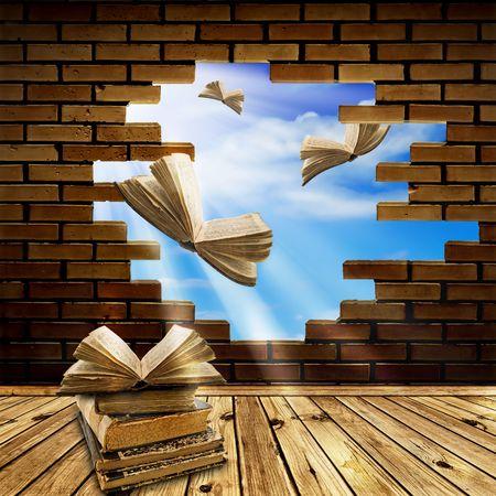 literatura: concepto de educaci�n: abrir libros volando a trav�s del agujero de la pared de ladrillo en el cielo azul