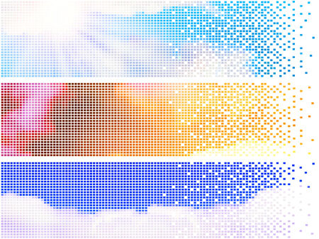 pixelate: three pixelate sky banners with clouds and sun