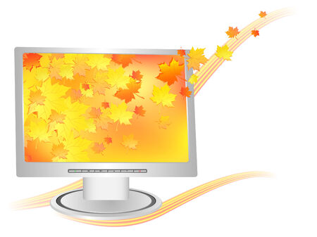 silver modern monitor with autumn wallpaper over white Stock Vector - 7424517