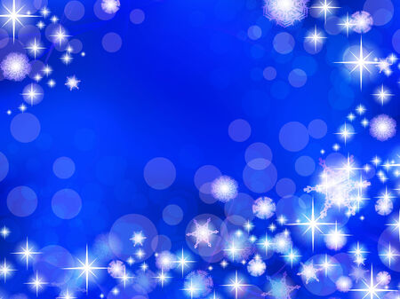 winter holiday blue background with snowflakes and stars