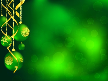 Christmas card in green with decorated balls and copyspace for your text Vector