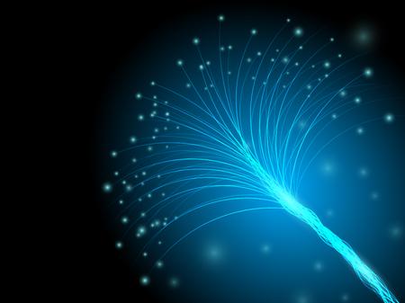 Ilustración de fibras óptica sobre fondo negro