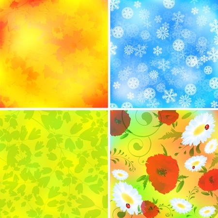 Set of four season backgrounds: summer,spring,autumn and winter Vector