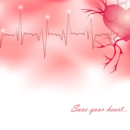 medicine theme with heart, pulse and copyspace for your text Vector