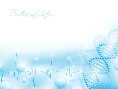 genetica: tema di scienza con gli elementi del DNA e impulsi, copyspace per il testo