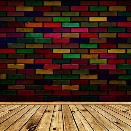 empty interior with wooden floor and multicolored brick wall Stock Photo - 7580931