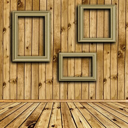 Photo of empty natural wooden inter with empty frames at wall  Stock Photo - 7580944