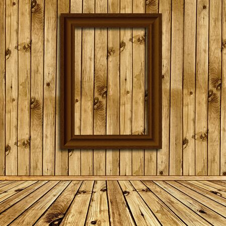 Photo of empty natural wooden interior with empty frame at wall  Stock Photo - 7580945