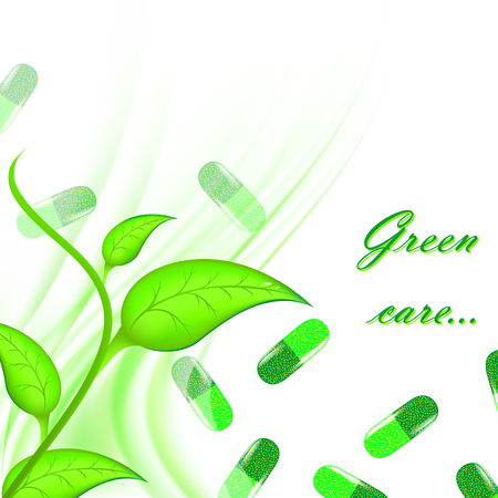 vitamins pills: Theme of medical herbal care with green pills and copyspace Illustration