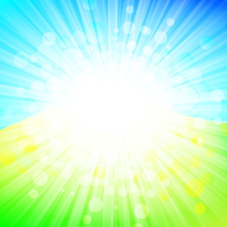 bright abstract explosion over green and blue, copyspace Vector