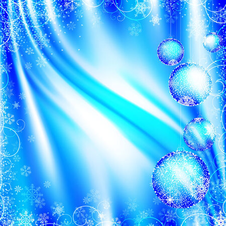 New year theme with decorative balls and copyspace in the light blue Illustration
